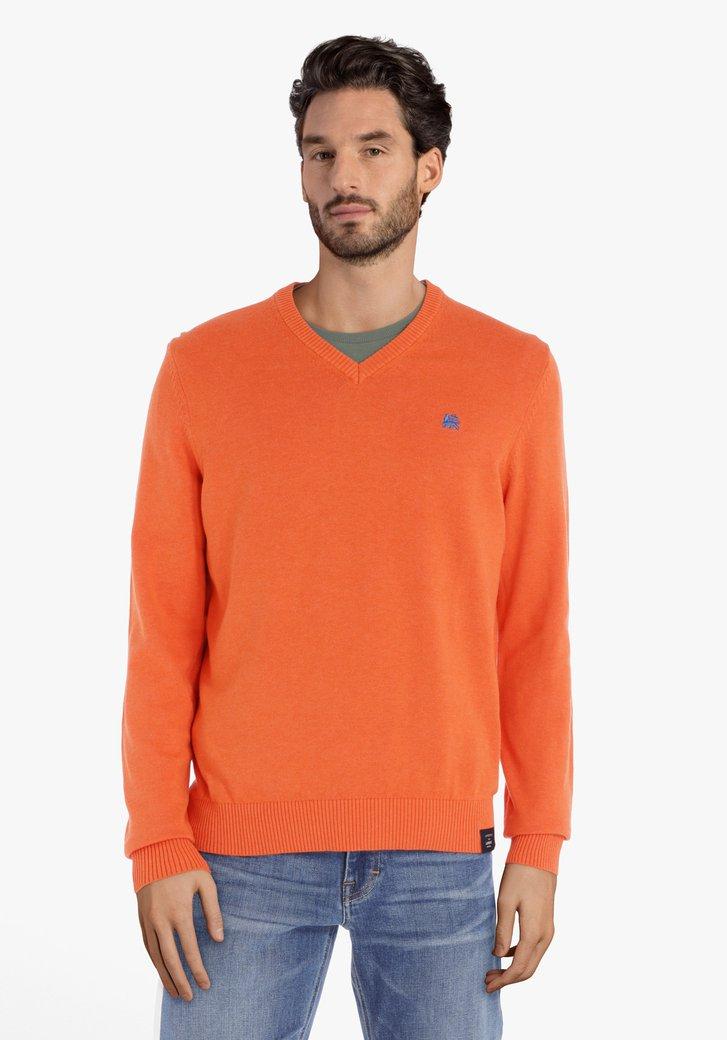 Oranje katoenen trui met geribde V-hals