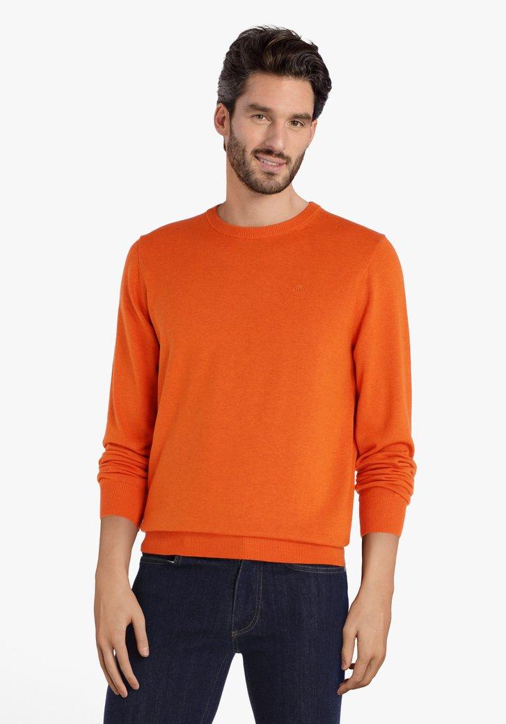 Oranje katoenen trui met ronde hals