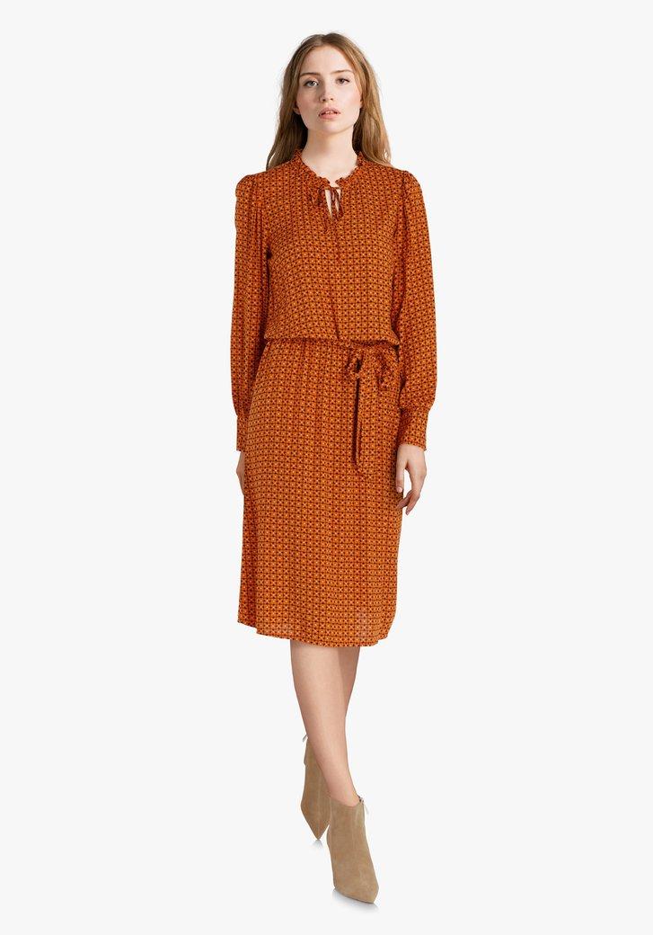 Oranje kleed met elastische taille in viscose