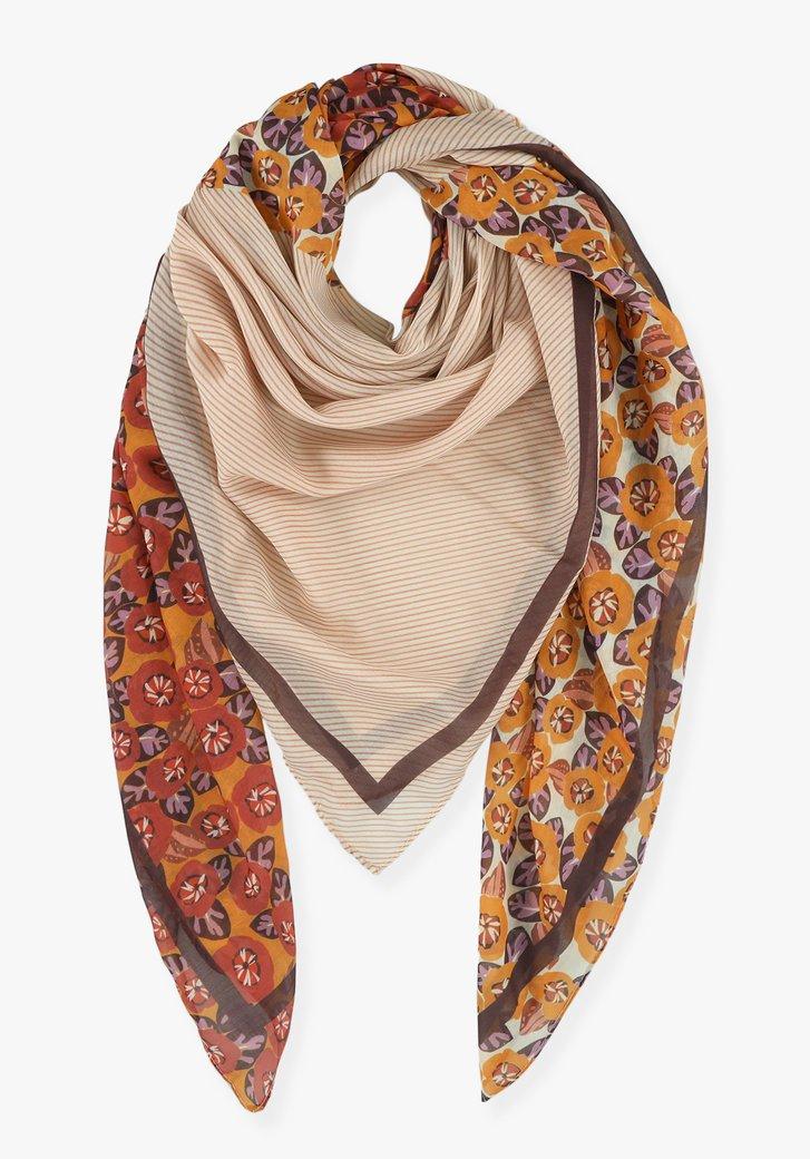 Oranje-rode sjaal met bloemenprint