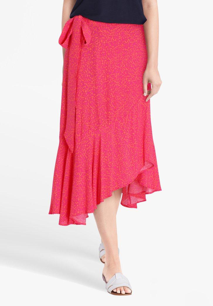 Oranje rok met roze panterprint
