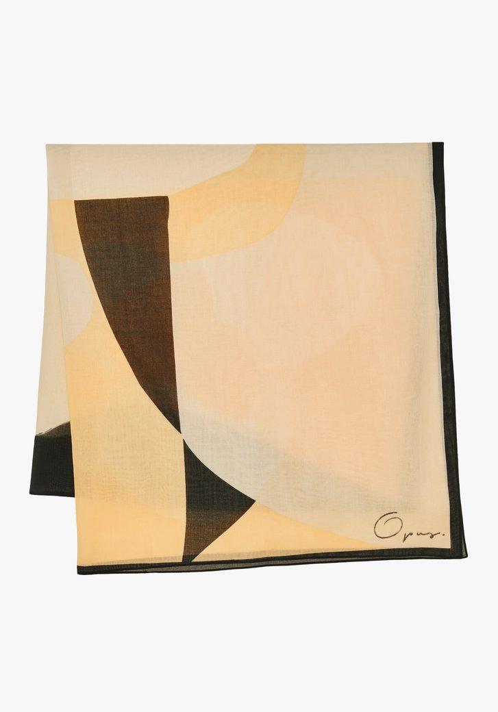 Oranje sjaal met zwart-beige print