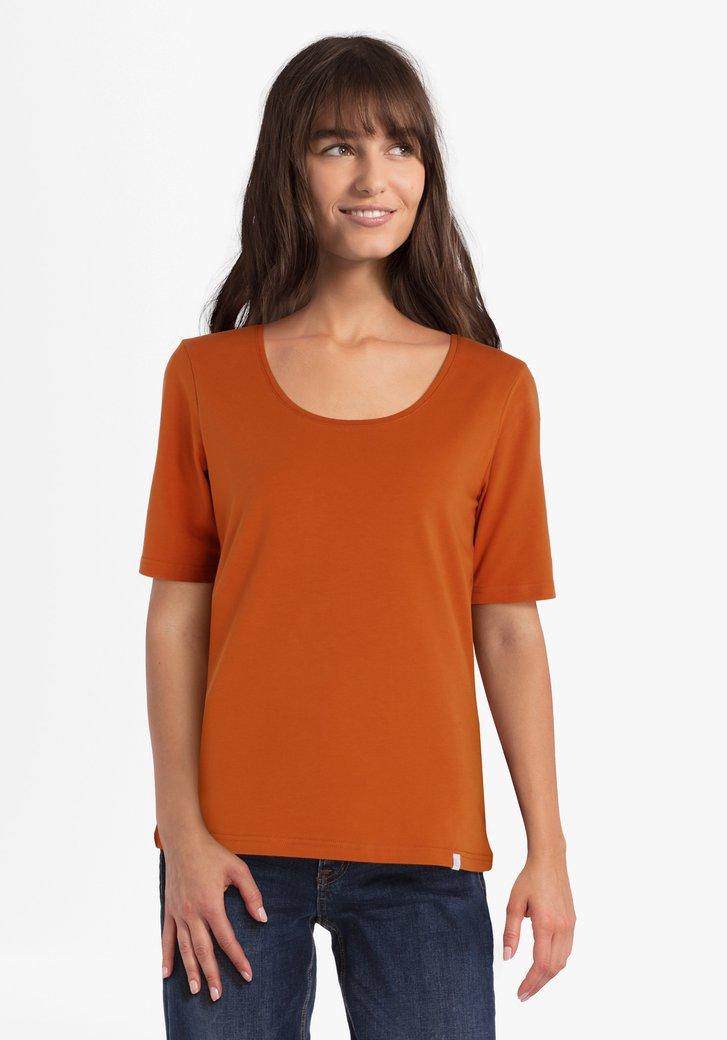 Oranje T-shirt in stretchkatoen