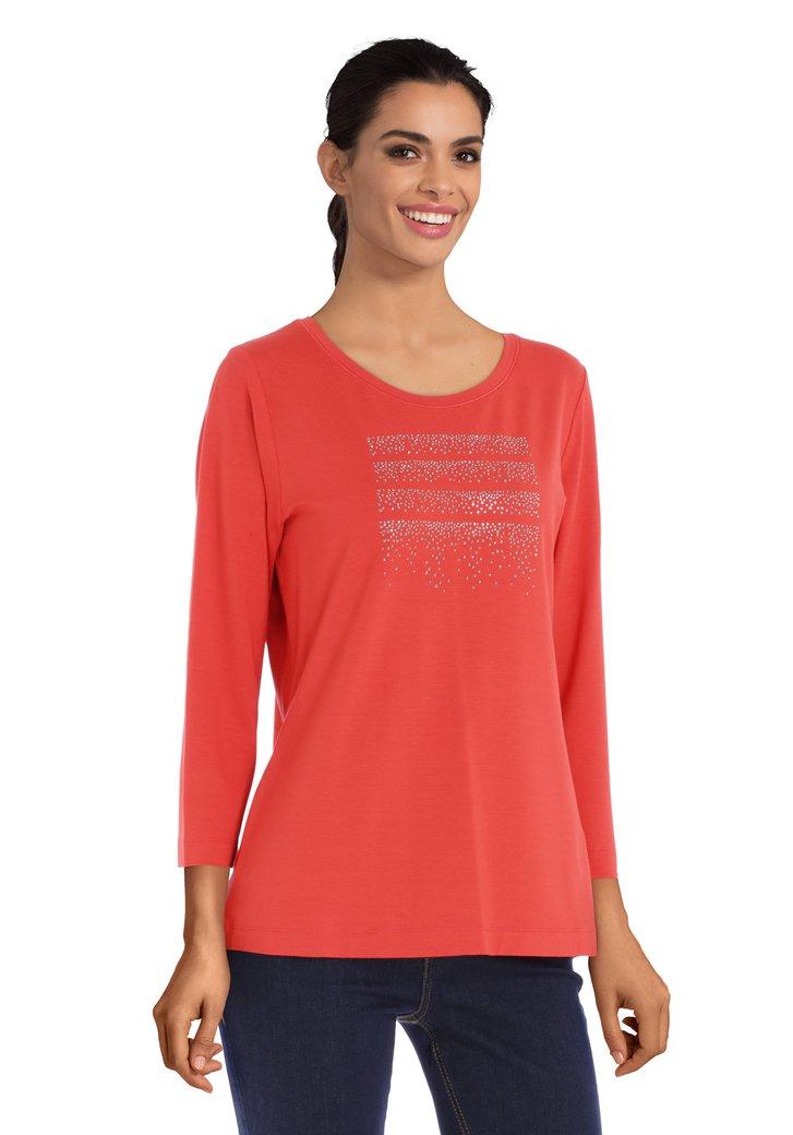 Oranje T-shirt met strass
