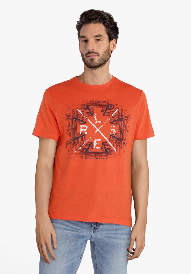 Oranje T-shirt met zwarte print en ronde hals