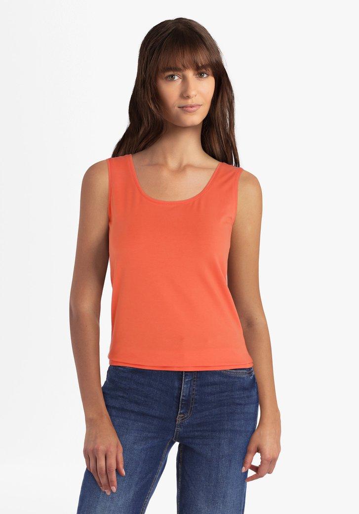 Oranje top met brede schouderbandjes