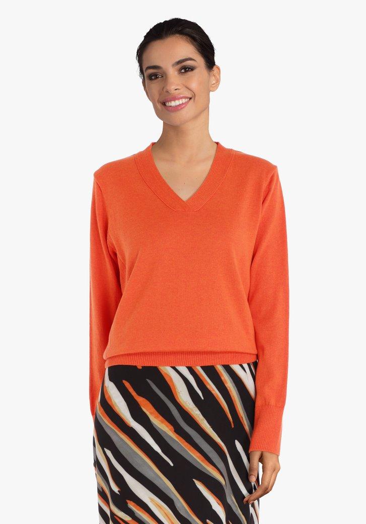Oranje trui  met geribde structuurstof
