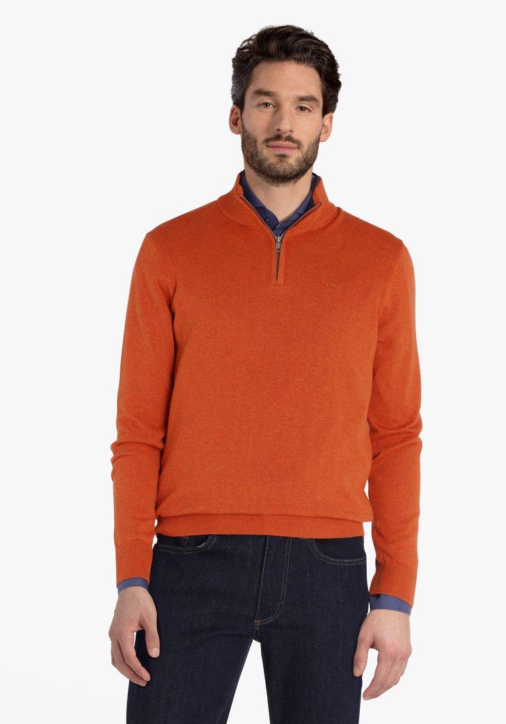 Oranje trui met rits en kraagje