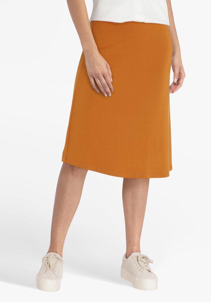 Oranjebruine rok met elastische taille
