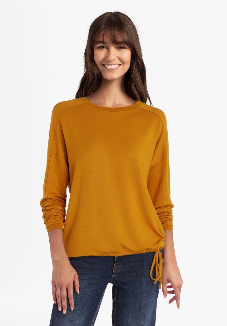 Oranjebruine T-shirt met striklint