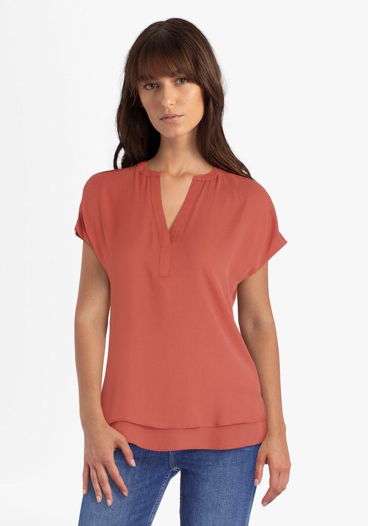Oranjerode blouse met V-hals