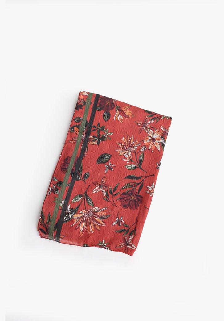Oranjerode sjaal met bloemenprint