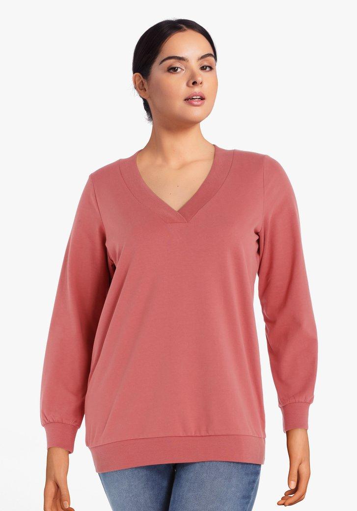 Oudroze katoenen sweater met geribde V-hals