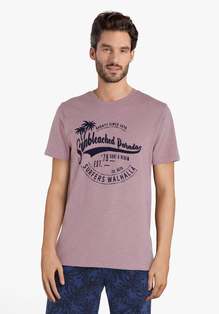 Oudroze T-shirt met opschrift