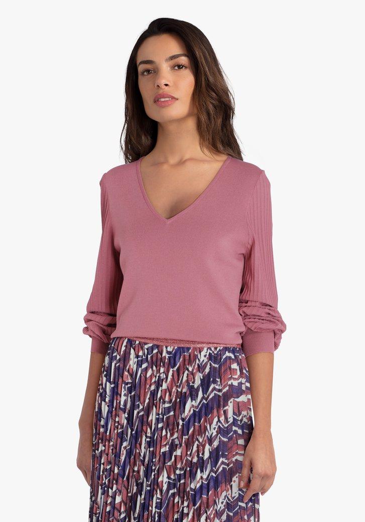Oudroze trui met mouwen in plissé
