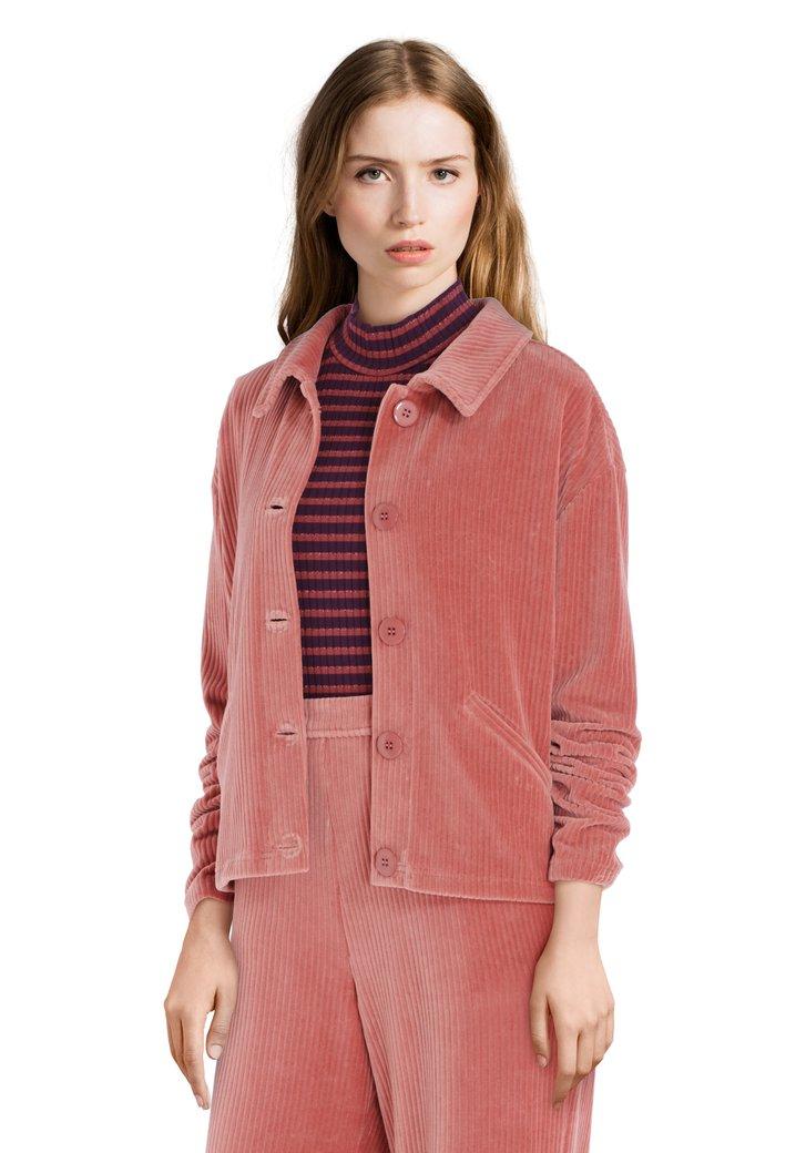 Oudroze vest in geribd fluweel