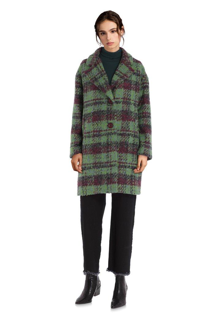 Oversized geruite groene jas met wol