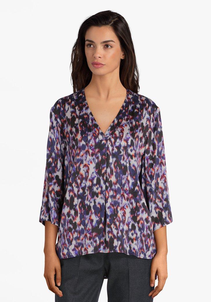 Paarse blouse met lila print