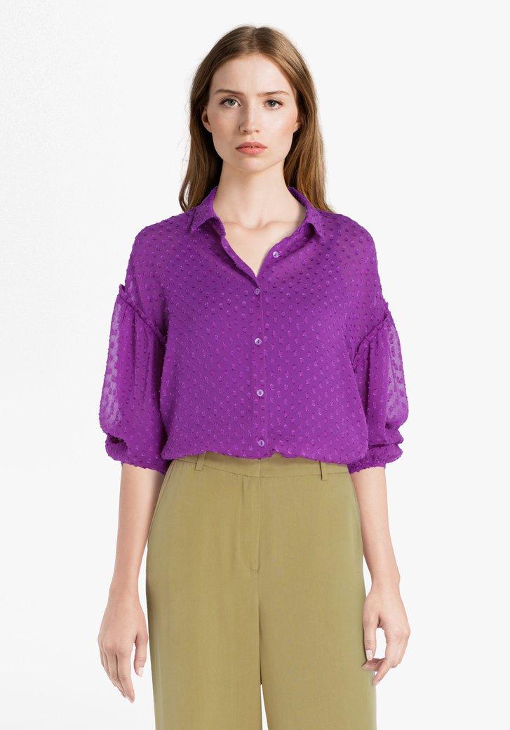 Paarse blouse met opliggend patroon