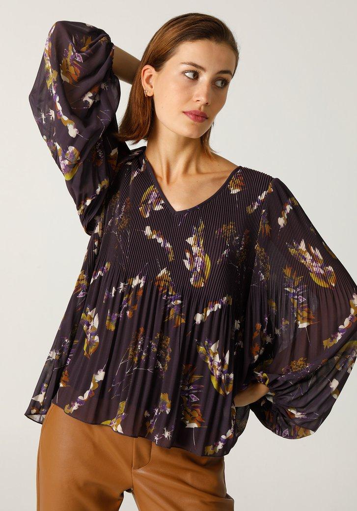 Paarse blouse met plissé