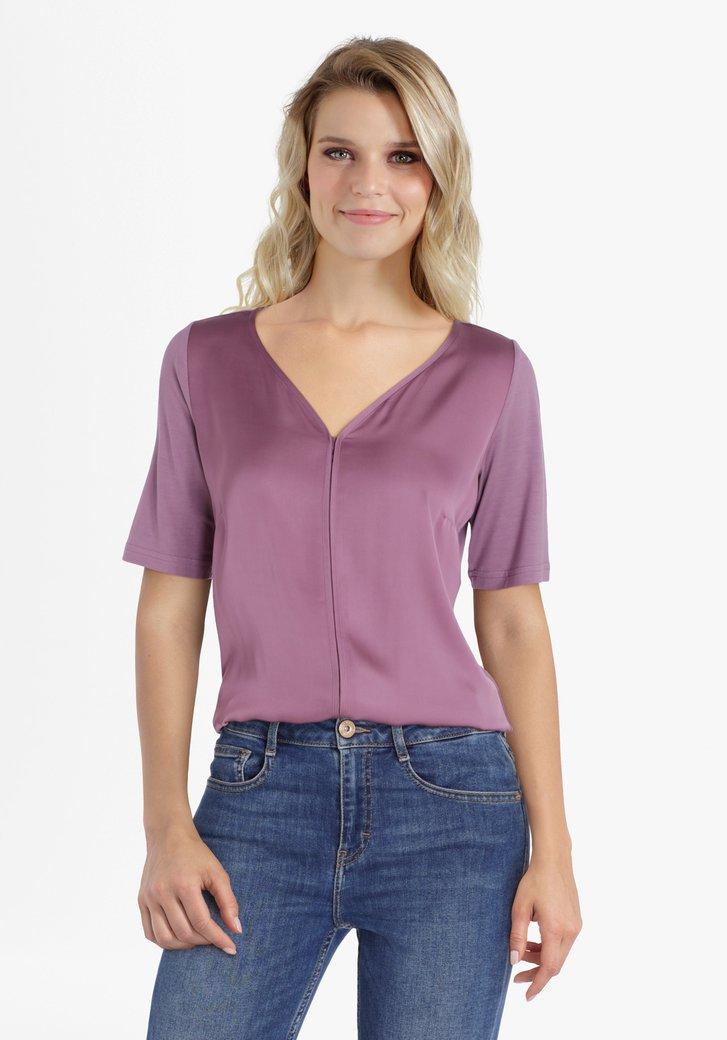 Paarse blouse met V-hals