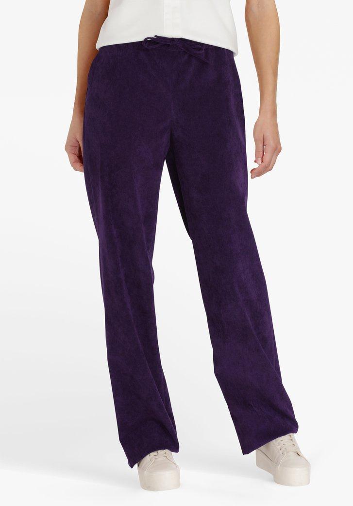 Paarse broek in ribfluweel - straight fit