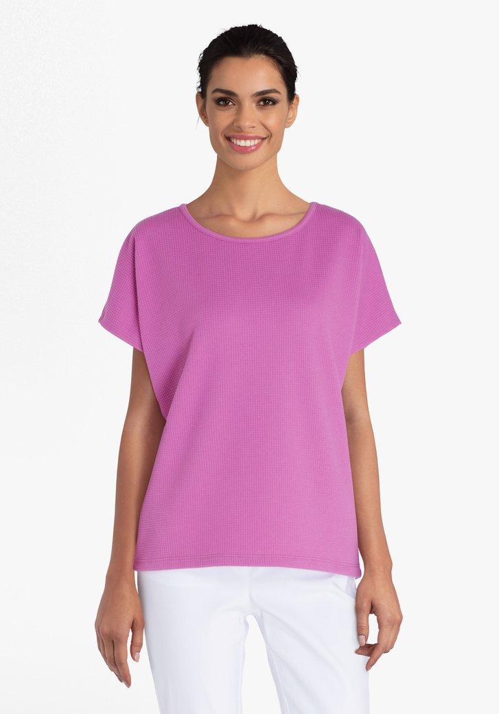 Paarse T-shirt in structuurstof