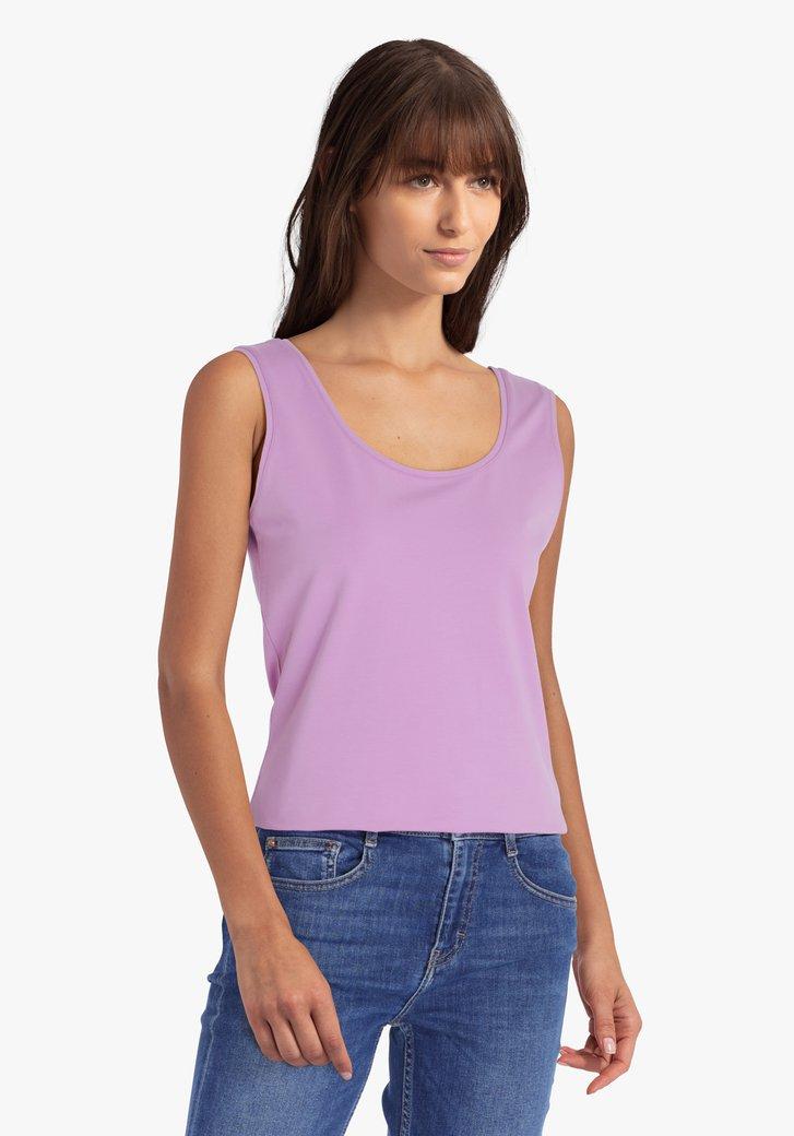 Paarse top met brede schouderbandjes