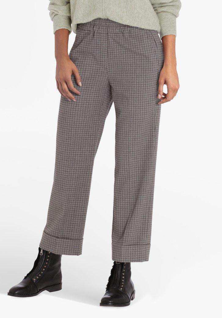 Pantalon 7/8 à carreaux gris - straight fit