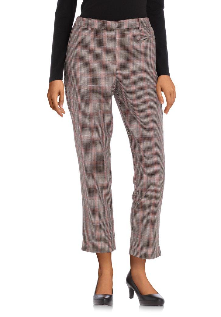 Pantalon 7/8 à carreaux marron – slim fit