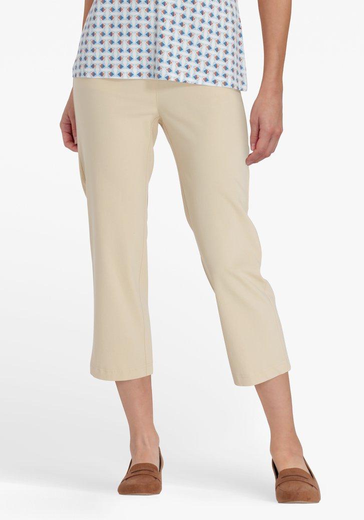 Pantalon 7/8 beige avec taille élastique