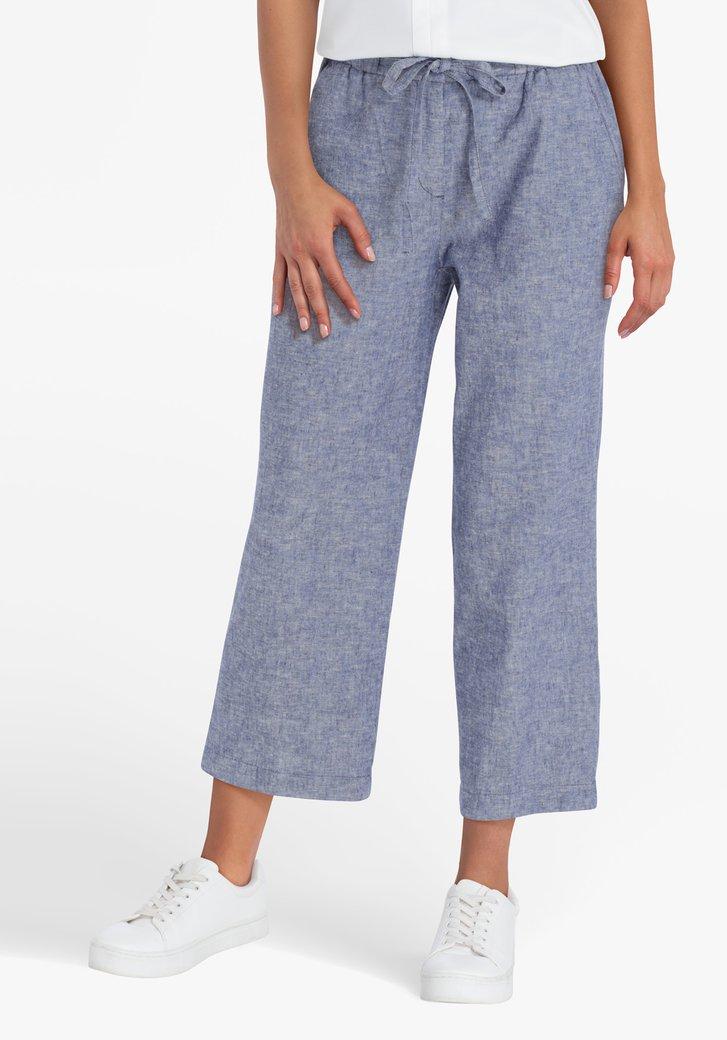 Pantalon 7/8 bleu en lin et coton