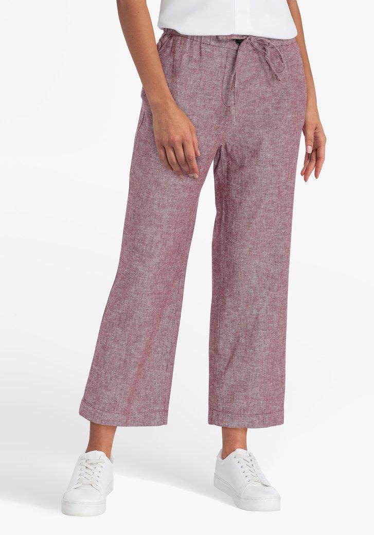 Pantalon 7/8 bordeaux en lin et coton