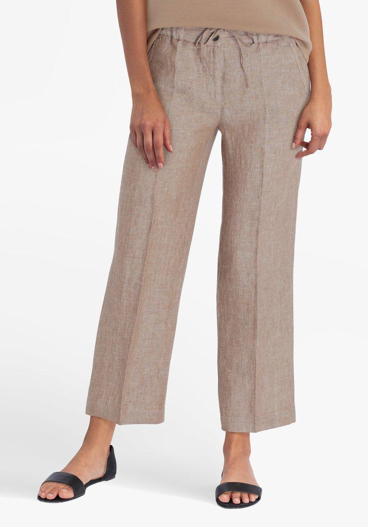 Pantalon 7/8 en lin brun clair