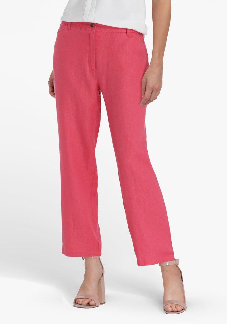 Pantalon 7/8 en lin rouge corail