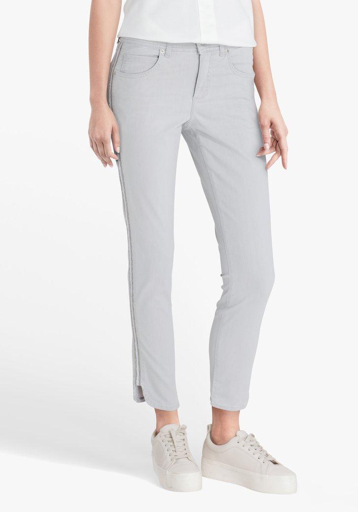 Pantalon 7/8 gris clair avec détails - slim fit