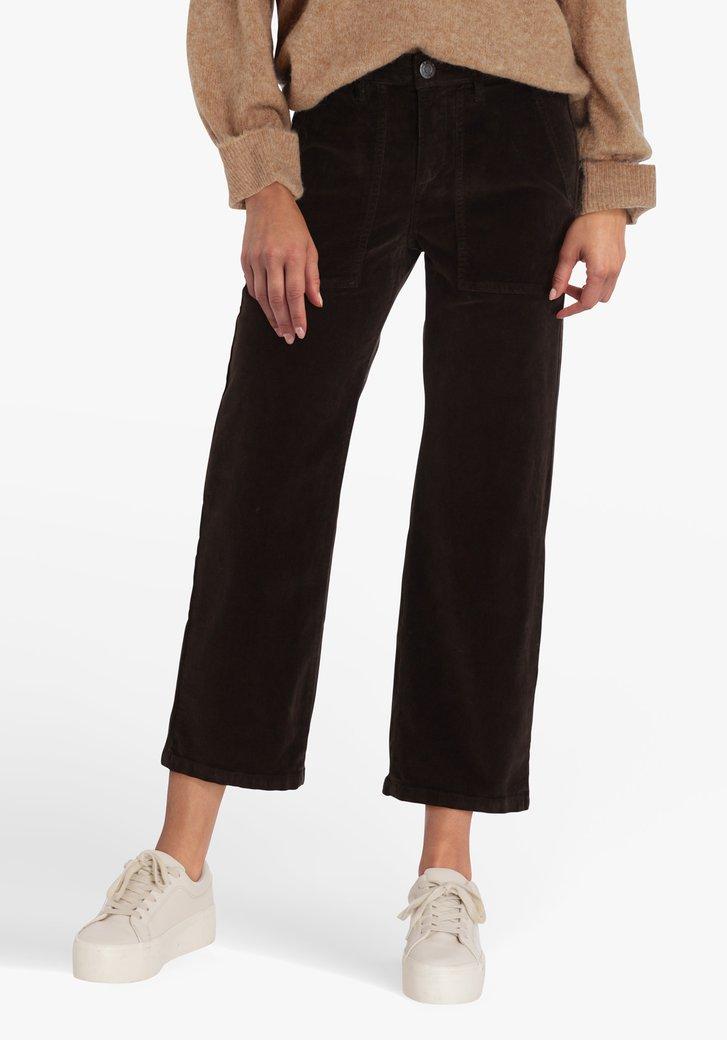Pantalon 7/8 marron foncé en velours côtelé