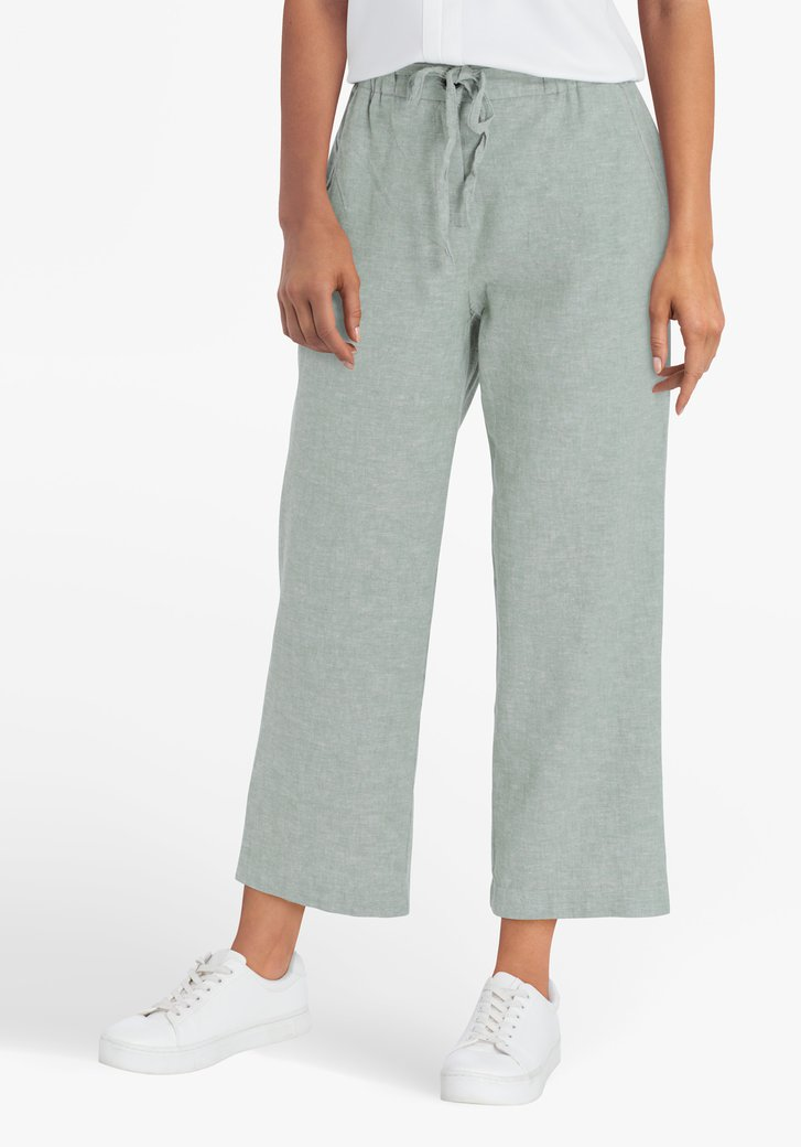 Pantalon 7/8 vert en lin et coton