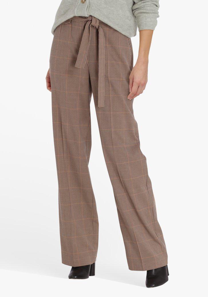 Pantalon à carreaux avec ruban - straight fit