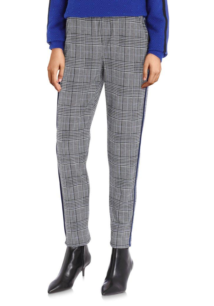 Pantalon à carreaux gris à galon bleu - slim fit