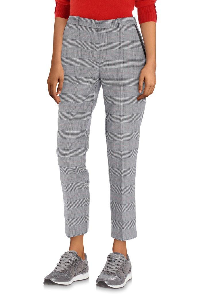 Pantalon à carreaux gris et galon noir – slim fit
