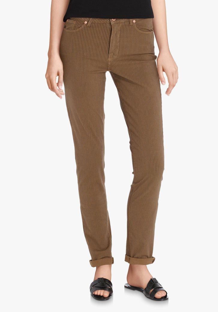 Pantalon à rayures brunes et bleues - slim fit