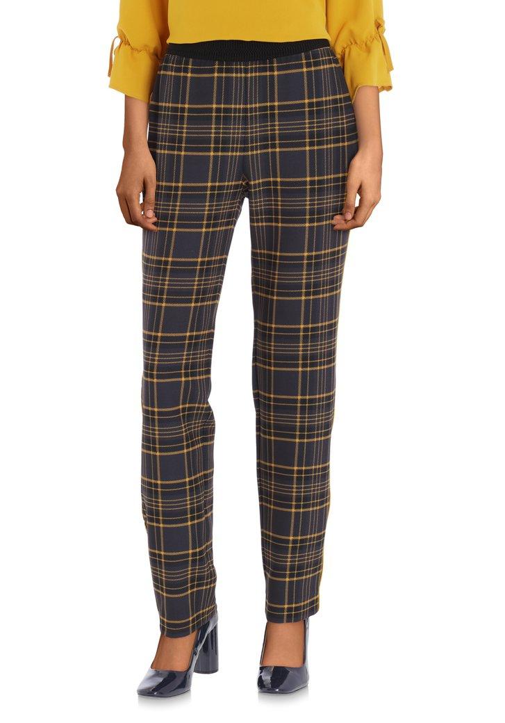 Pantalon anthracite avec carreaux jaune - slim fit