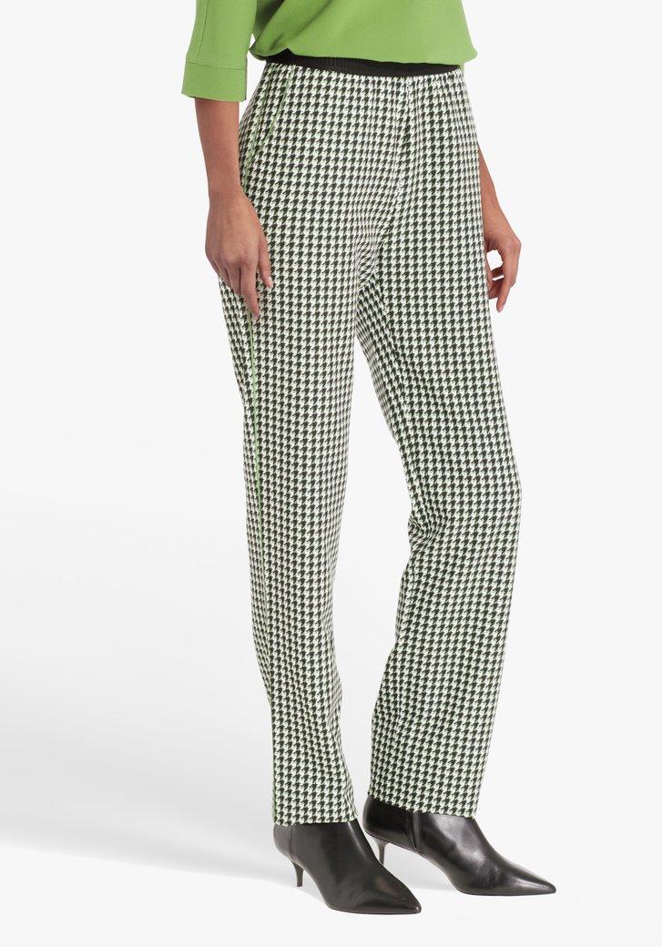 Pantalon avec pied-de-poule et taille élastiquée