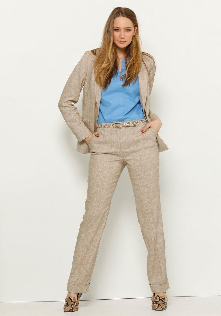 Pantalon beige en lin à revers - straight fit