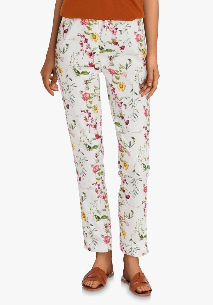 Pantalon blanc à fleurs