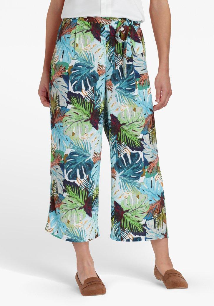 Pantalon blanc à jambes larges et imprimé tropical