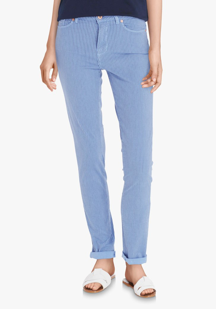 Pantalon bleu à rayures - slim fit
