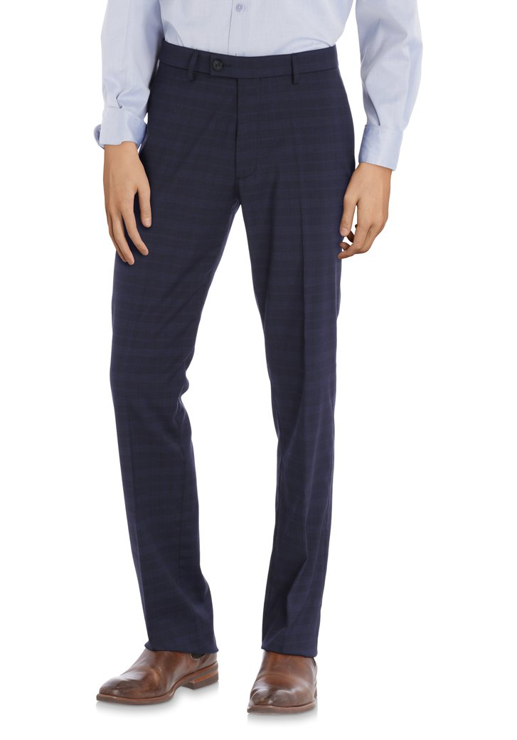 Pantalon bleu foncé carreaux - Alabama – comfort