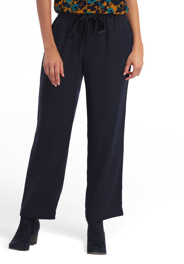 Pantalon bleu marine en cupro - straigt fit